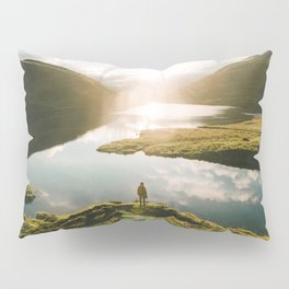 Switzerland Mountain Lake Sunrise - Landscape Photography Pillow Sham