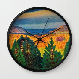 Across the Colorful Autumn Valley with Mountains by Rockwell Kent Wall Clock