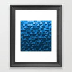 Blue hexagon abstract pattern Framed Art Print