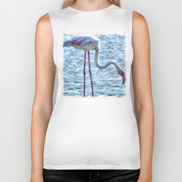 Balance of Nature Flamingo Watercolor Biker Tank
