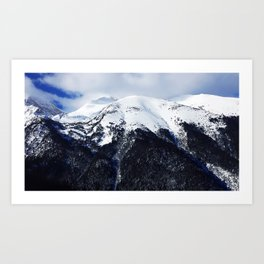 Snow cowered peaks Art Print