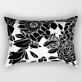 Floral Bouquet Explosion In Black Rectangular Pillow