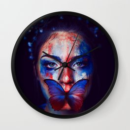 Beautiful Woman Face with Butterfly - Wall Arts Only Wall Clock