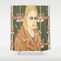 tenenbaum Shower Curtains featuring Margot Tenenbaum  by Maritza Lugo
