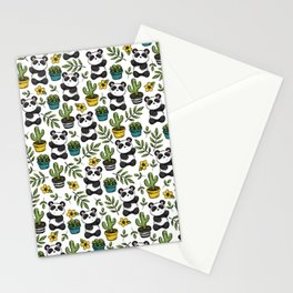 Panda Print, Succulents, Greenery and Cute Pandas, Flowers and Cactus Stationery Cards