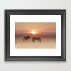 Horses in a misty dawn Framed Art Print