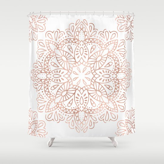 Mandala Rose Gold Pink Shimmer by Nature Magick Shower Curtain by ...