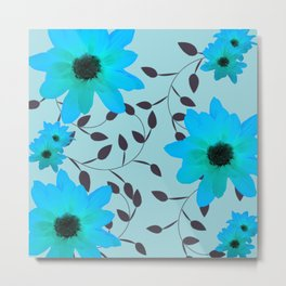 Pale Blue Flowers and Vines Metal Print