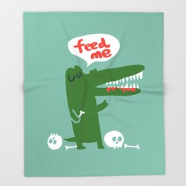 Hungry Hungry Alligator Throw Blanket