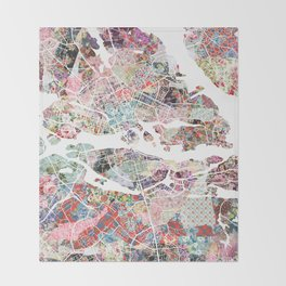 Stockholm map Throw Blanket