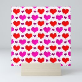 Pretty Pink and Red Painted Love Hearts Mini Art Print