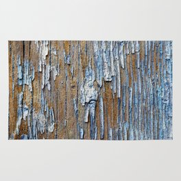 Old painted wooden plank Rug