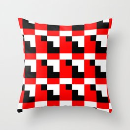 Red black step pattern Throw Pillow