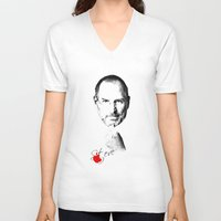 steve jobs V-neck T-shirts featuring Steve Jobs by lovetoclick