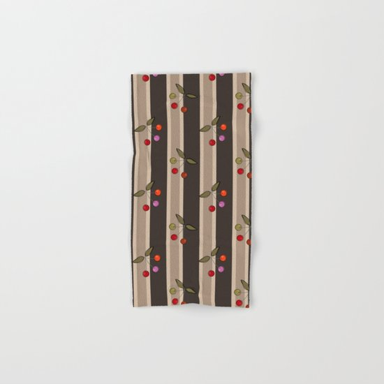 Colorful cherries on a brown striped background . Retro . Hand & Bath Towel