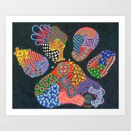 Chaotic Paw Print Art Print