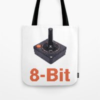 8 bit Tote Bags featuring 8-Bit by Cory Fitzpatrick