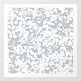 White and Grey Botanical Silhouette Pattern - Broken but Flourishing Art Print