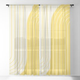 Two Tone Line Curvature V Sheer Curtain