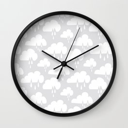 Weather Rain Cloud Never Ending White on Grey Wall Clock