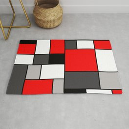 Red Black and Grey squares Rug