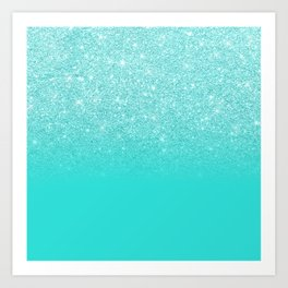 Modern chic sparkes girly turquoise glitter ombre gradient Art Print