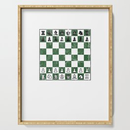 Awesome Distressed Vintage Chess Board Grand Master Serving Tray