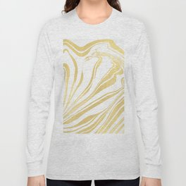 Bronze Copper Gold Rush Marble Ink Swirl Long Sleeve T-shirt