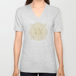 Moroccan Mandala – Gold Palette Unisex V-Neck