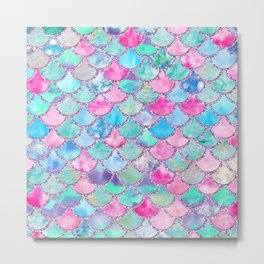 Colorful Pink and Blue Watercolor Trendy Glitter Mermaid Scales  Metal Print