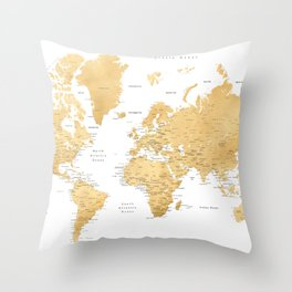 Gold world map with cities Throw Pillow