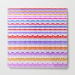 Warm Bright Bubbly Boho Color Study Stripes Print Metal Print