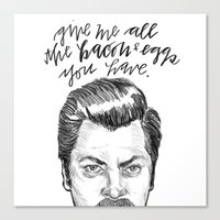 parks and recreation Canvas Prints featuring Ron Swanson. [Parks and Recreation] by Jillian Kaye