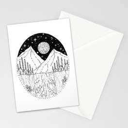 Mountainous Woodland Waterfall Scene Stationery Cards
