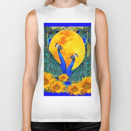 BLUE PEACOCKS MOON & FLOWERS FANTASY ART Biker Tank