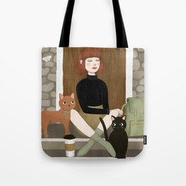 cats & coffee Tote Bag