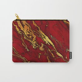 Chic Elegant Fire Red Ombre Glitter Marble Carry-All Pouch