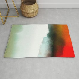 Red, Teal and White Abstract Rug