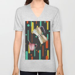 Coffee Pop Art Collage Good Morning Unisex V-Neck