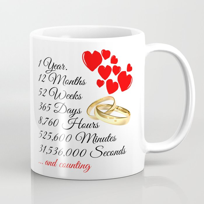 One Year Anniversary Gift Warming Quote Coffee Mug