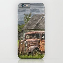 Old Vintage Pickup in front of an Abandoned Farm House iPhone Case