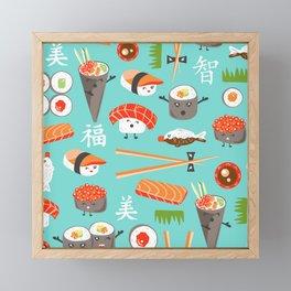 Happy Sushi Framed Mini Art Print