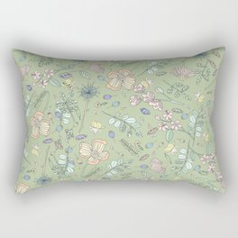 Scattered Floral Bloom Retro Green Pattern Rectangular Pillow
