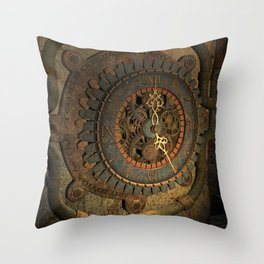 Steampunk, awesome clock, rusty metal Throw Pillow