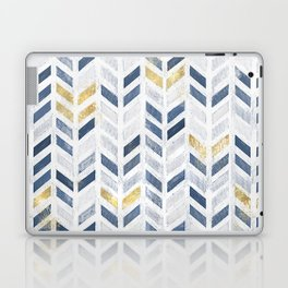 Herringbone chevron pattern. Indigo gold acrylic on canvas Laptop & iPad Skin