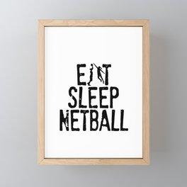 Eat Sleep Netball Framed Mini Art Print