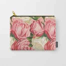 Coral pink blush cream ivory and green summer big roses Carry-All Pouch