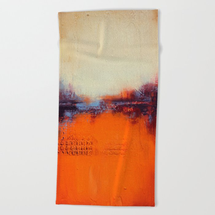 Orange and White Beach Towel