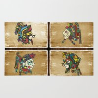 mexican Area & Throw Rugs featuring mexican warriors by laika in cosmos