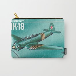 Postage stamp printed in Soviet Union shows vintage airplane Carry-All Pouch